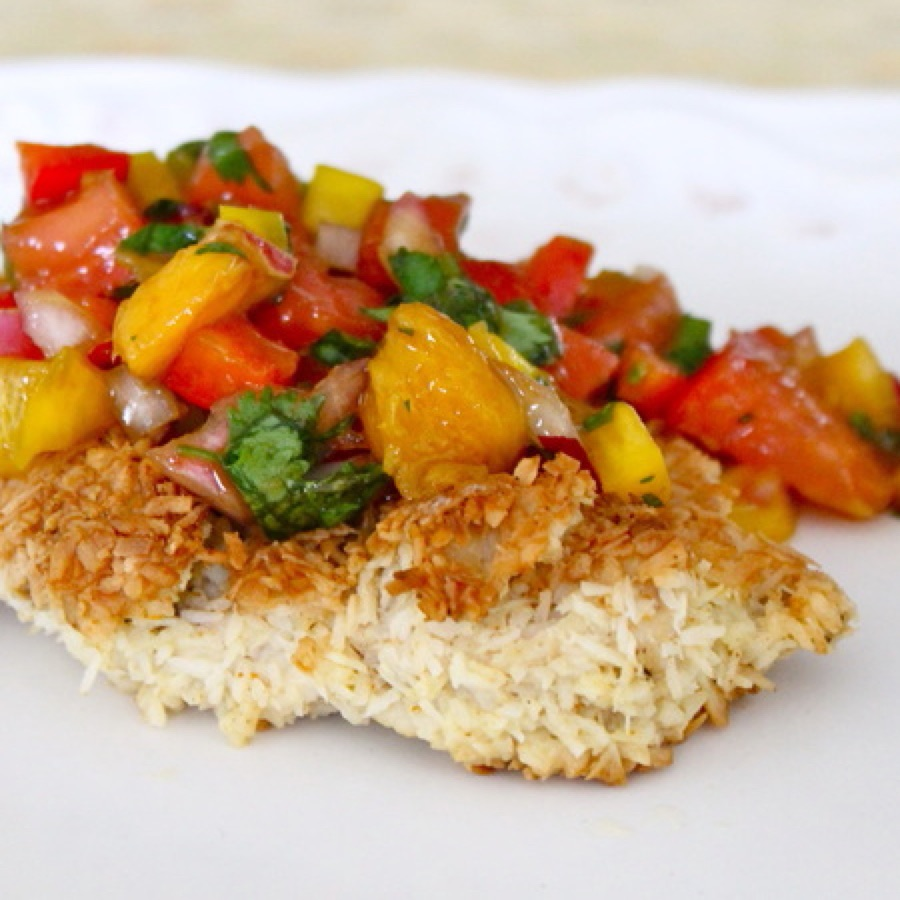 Chicken Coconut-Crusted Chicken with Mango-Mint Salsa 450x450